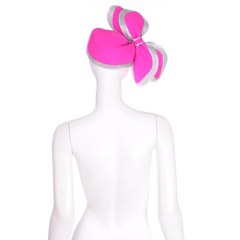 Women's Vintage Adolfo II Hot Pink and Silver Structured Bow Statement Hat For Sale