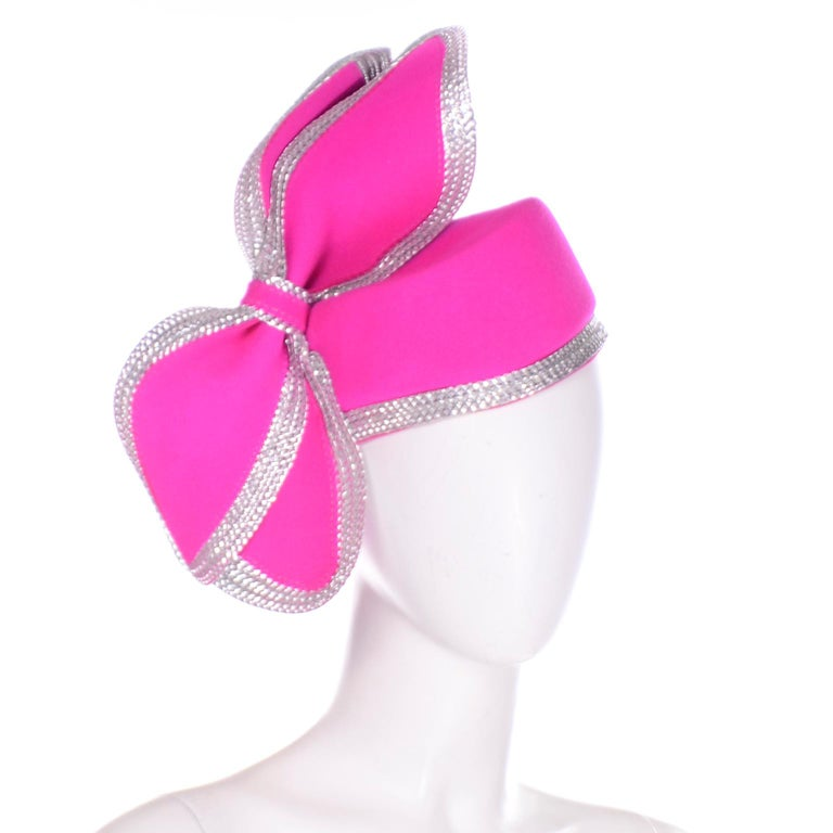 Vintage Adolfo II Hot Pink and Silver Structured Bow Statement Hat For Sale 1