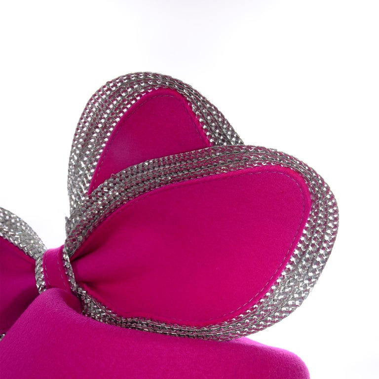 Vintage Adolfo II Hot Pink and Silver Structured Bow Statement Hat For Sale 3