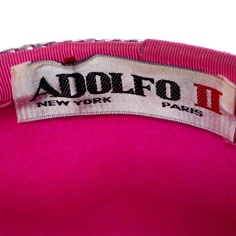 Vintage Adolfo II Hot Pink and Silver Structured Bow Statement Hat For Sale 5
