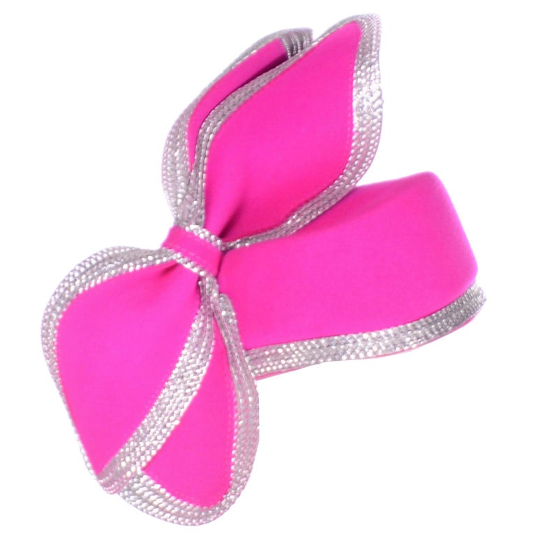 Vintage Adolfo II Hot Pink and Silver Structured Bow Statement Hat For Sale