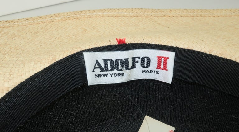 Vintage Adolfo II Midnight Blue Straw Hat With Hot Pink Band For Sale 5