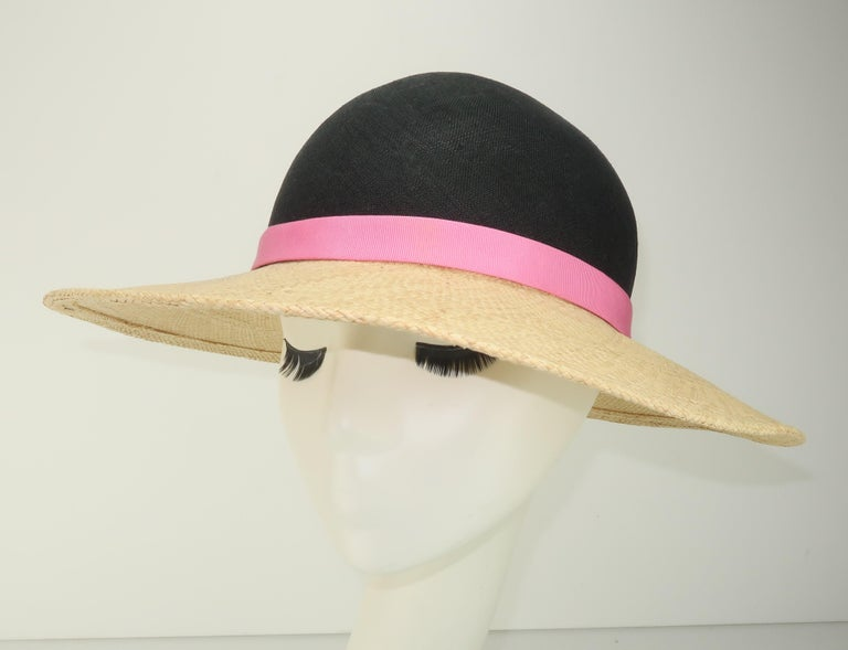 Beige Vintage Adolfo II Midnight Blue Straw Hat With Hot Pink Band For Sale