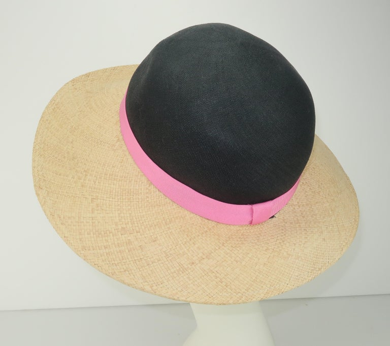 Vintage Adolfo II Midnight Blue Straw Hat With Hot Pink Band In Good Condition For Sale In Atlanta, GA