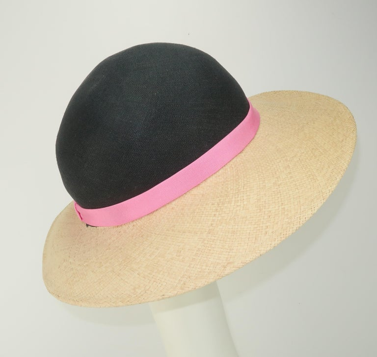 Women's Vintage Adolfo II Midnight Blue Straw Hat With Hot Pink Band For Sale