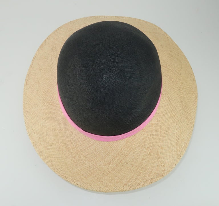 Vintage Adolfo II Midnight Blue Straw Hat With Hot Pink Band For Sale 1