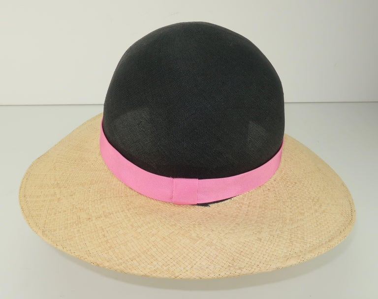 Vintage Adolfo II Midnight Blue Straw Hat With Hot Pink Band For Sale 2