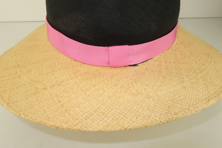 Vintage Adolfo II Midnight Blue Straw Hat With Hot Pink Band For Sale 3
