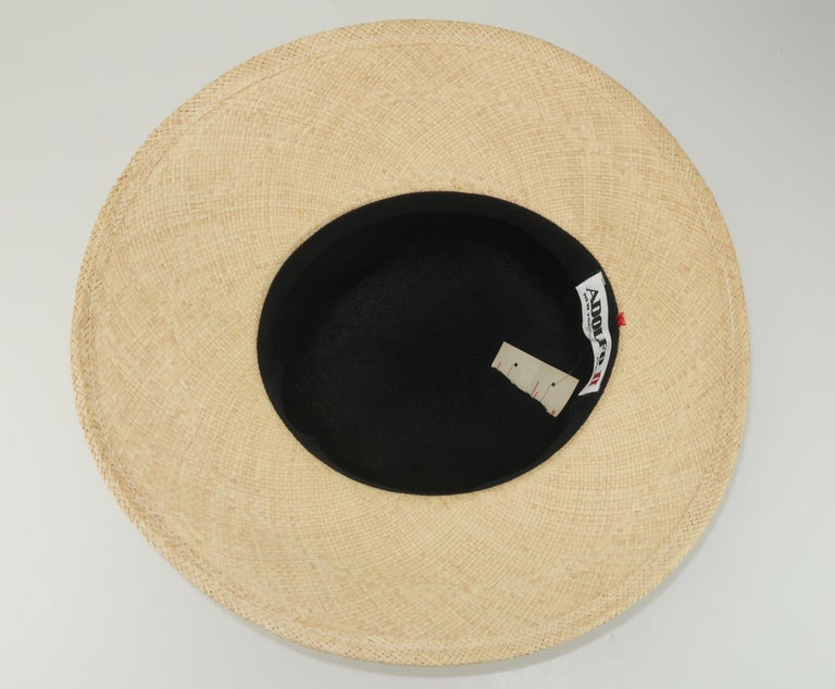 Vintage Adolfo II Midnight Blue Straw Hat With Hot Pink Band For Sale 4