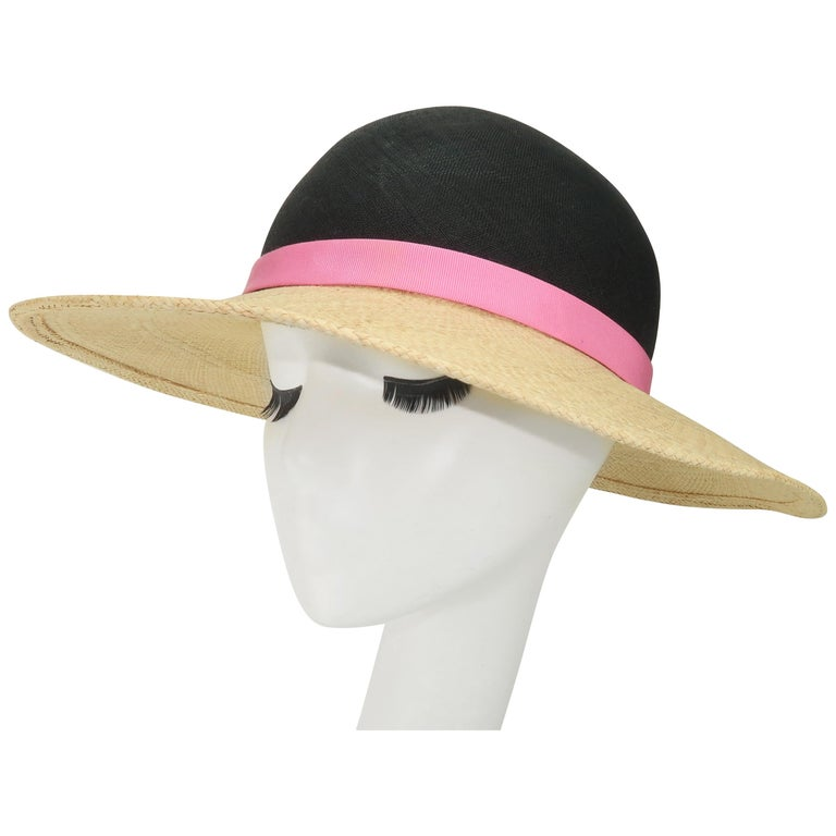 Vintage Adolfo II Midnight Blue Straw Hat With Hot Pink Band For Sale