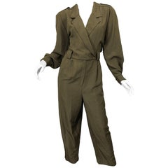 Vintage Adolfo Size 16 Army Green Military Inspired One Piece Jumpsuit