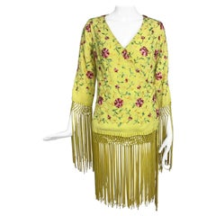 Vintage Adolft Yellow Embroidered Fringe Trim Wrap Jacket Tunic 1970s