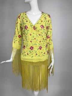 Vintage Adolft Yellow Embroidered Fringe Trim Wrap Jacket Tunic 1970s