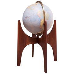 Vintage Adrian Pearsall for Craft Associates Illuminated Globe on Walnut Stand