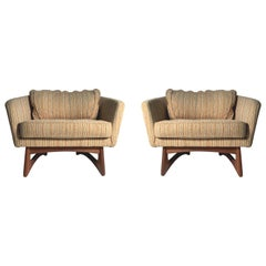 Vintage Adrian Pearsall Pair Club Barrel Back Lounge Chairs for Craft Associates