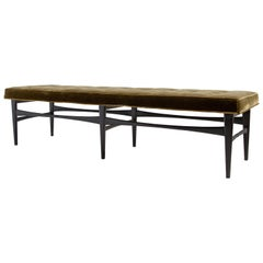 Vintage Adrian Pearsall Tufted Ebonized Wood Bench, Mid-Century, American