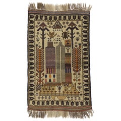 Vintage Afghan Balouch War Rug with Tribal Nomadic Style