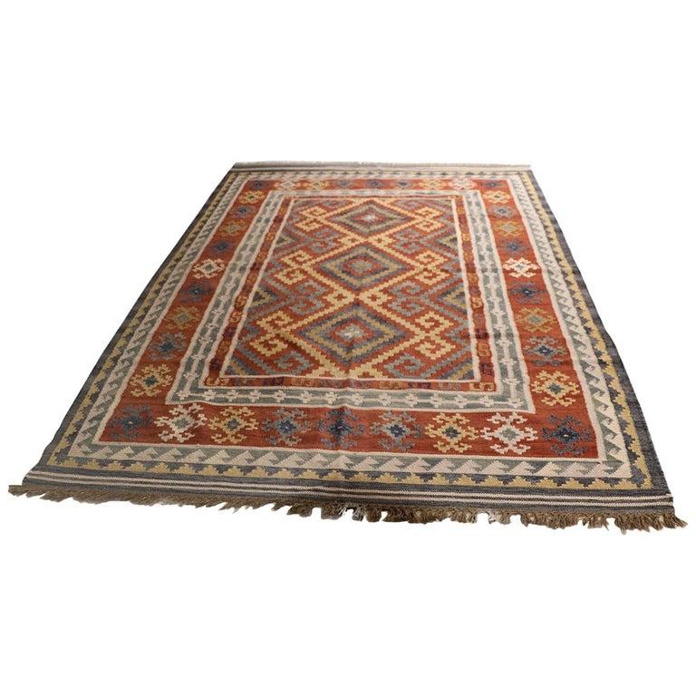 Vintage Afghan Kelim Rug, 20th Century For Sale