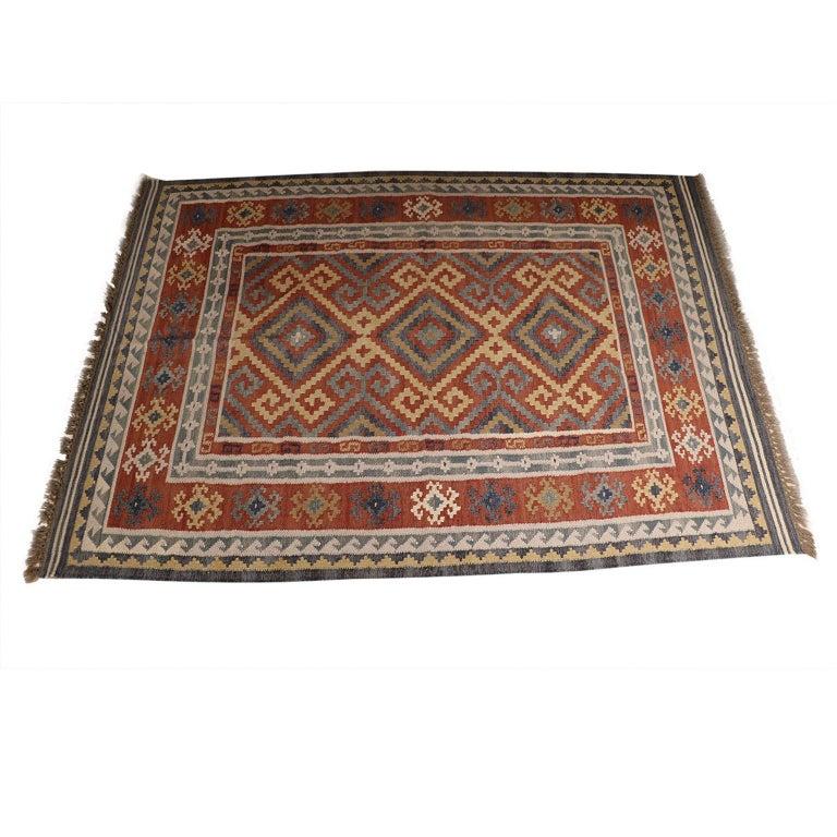 Wool Vintage Afghan Kelim Rug, 20th Century For Sale