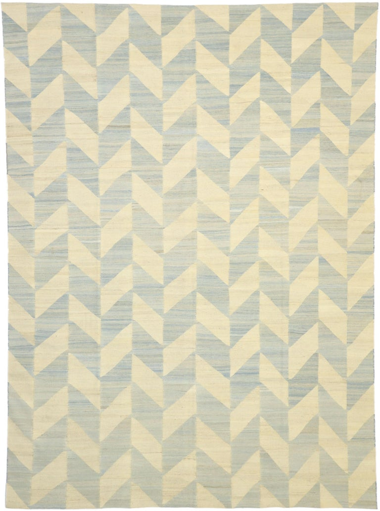 80095, Vintage Afghan Kilim Area Rug with Herringbone Pattern and Coastal Living Style. This handwoven wool vintage Kilim area rug features a Classic Herringbone pattern and coastal style in a subtle color palette. The flat-weave Kilim rug displays