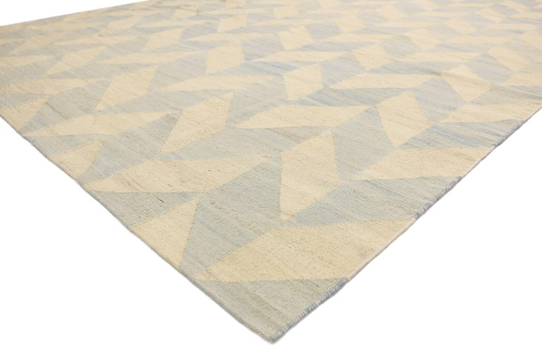 Hand-Woven Vintage Afghan Kilim Area Rug with Herringbone Pattern and Coastal Living Style For Sale