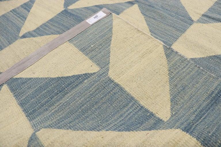 Wool Vintage Afghan Herringbone Kilim Rug with Southern Living Coastal Style For Sale