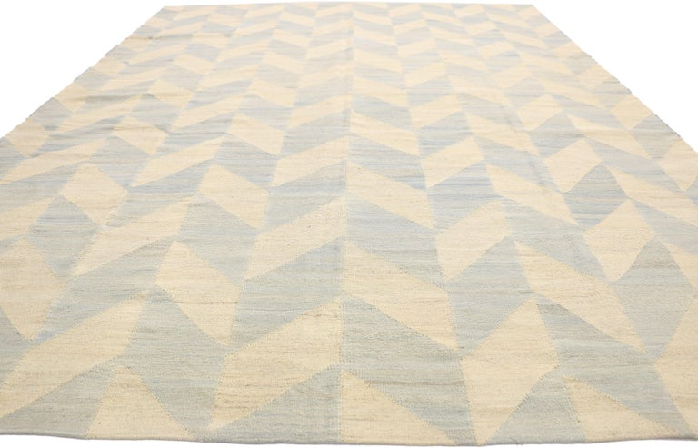 Vintage Afghan Kilim Area Rug with Herringbone Pattern and Coastal Living Style In Good Condition For Sale In Dallas, TX