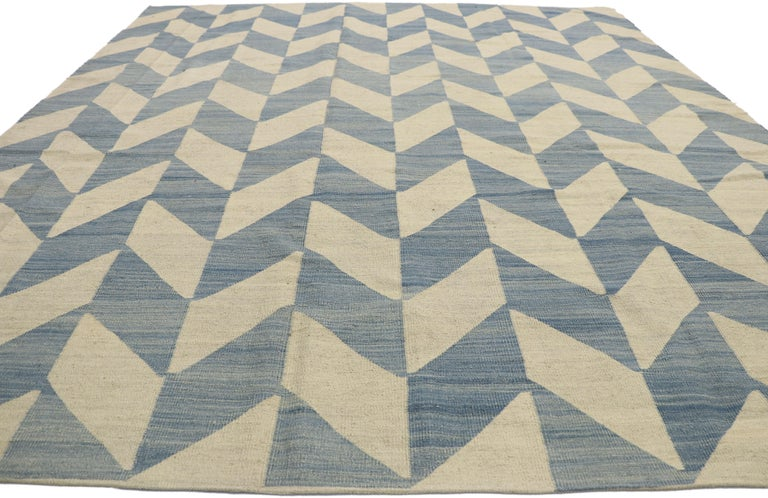 Vintage Afghan Herringbone Kilim Rug with Southern Living Coastal Style In Good Condition For Sale In Dallas, TX