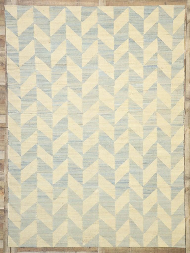 Vintage Afghan Kilim Area Rug with Herringbone Pattern and Coastal Living Style For Sale 3