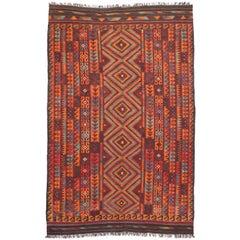 Vintage Afghan Ghalmouri Maimana Kilim Rug with Nomadic Tribal Style