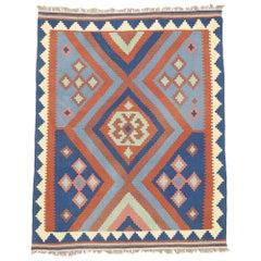 Vintage Afghan Kilim Rug with Native American Navajo Two Grey Hills Style