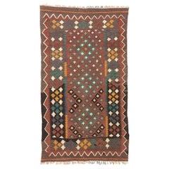 Vintage Afghan Kilim Rug with Rustic Modern Pacific Northwest Style