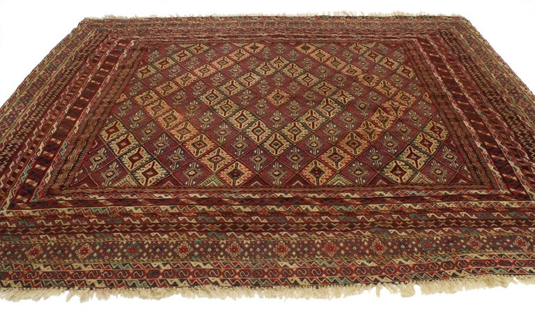 77004 Vintage Afghan Mashwani Kilim rug with Nomadic Tribal style, square flat-weave Rug. This handwoven wool vintage Afghan Kilim rug was made by the nomadic Mashwani tribe in Afghanistan. The vintage Mashwani Kilim rug features an all-over diamond