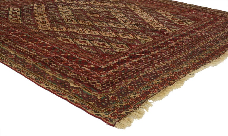 Hand-Woven Vintage Afghan Mashwani Kilim Rug with Nomadic Tribal Style For Sale