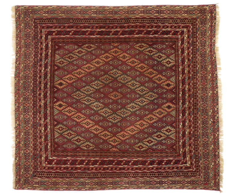 Vintage Afghan Mashwani Kilim Rug with Nomadic Tribal Style In Good Condition For Sale In Dallas, TX