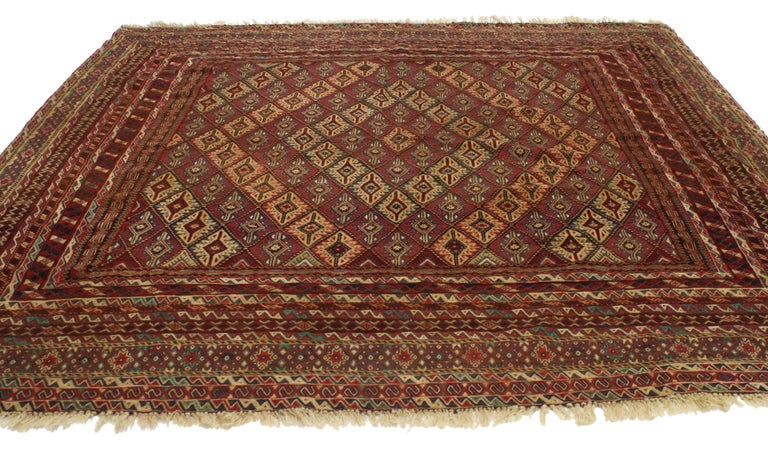 20th Century Vintage Afghan Mashwani Kilim Rug with Nomadic Tribal Style For Sale