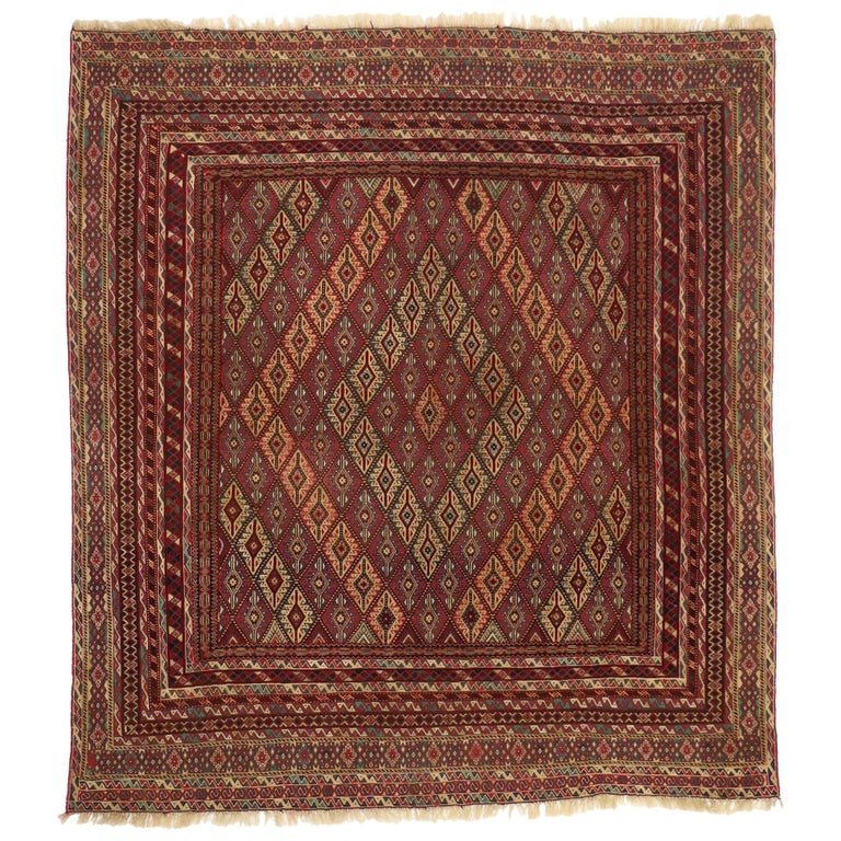 Vintage Afghan Mashwani Kilim Rug with Nomadic Tribal Style For Sale