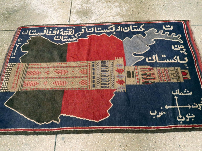 Vintage Afghan Pictorial Map Rug For Sale At 1stdibs