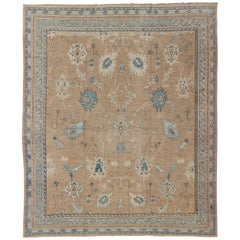 Vintage Afghan Rug Oushak with Tans and Blues