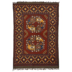 Vintage Afghan Rug with Mid-Century Modern Vibes and Tribal Style