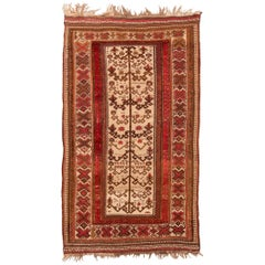 Vintage Afghan Transitional Red and Beige Wool Kilim Rug