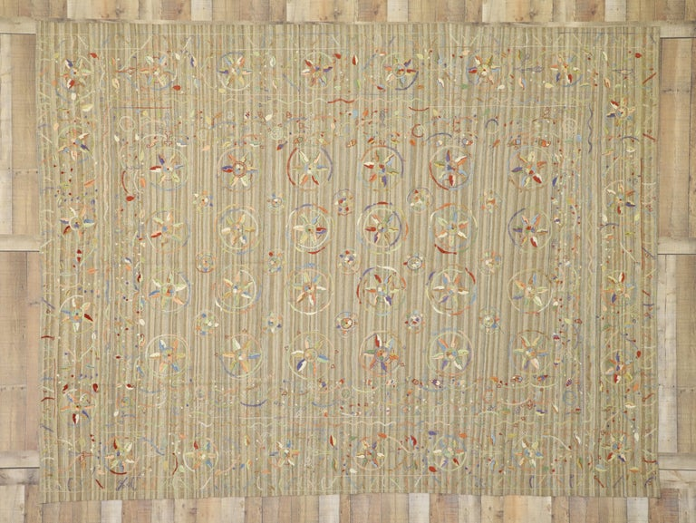 20th Century Vintage Afghan Uzbek Suzani Embroidered Kilim Rug with Bohemian Style For Sale