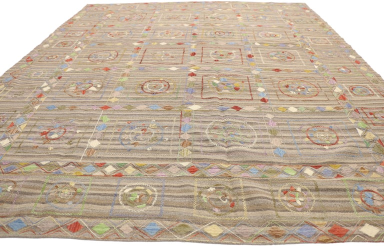 Wool Vintage Afghan Uzbek Suzani Embroidered Kilim Rug with Bohemian Style For Sale
