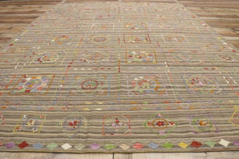 Vintage Afghan Uzbek Suzani Embroidered Kilim Rug with Bohemian Style For Sale 1