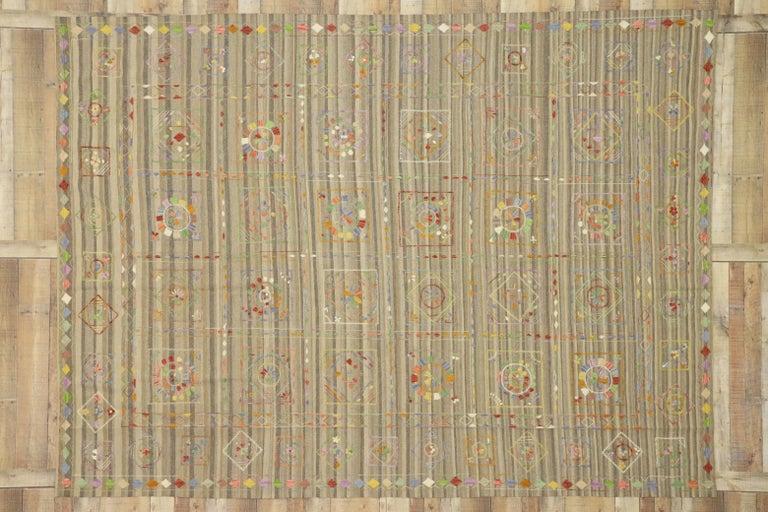 Vintage Afghan Uzbek Suzani Embroidered Kilim Rug with Bohemian Style For Sale 2