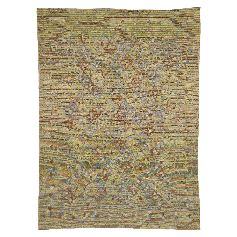Vintage Afghan Uzbek Suzani Embroidered Kilim Rug with Bohemian Style