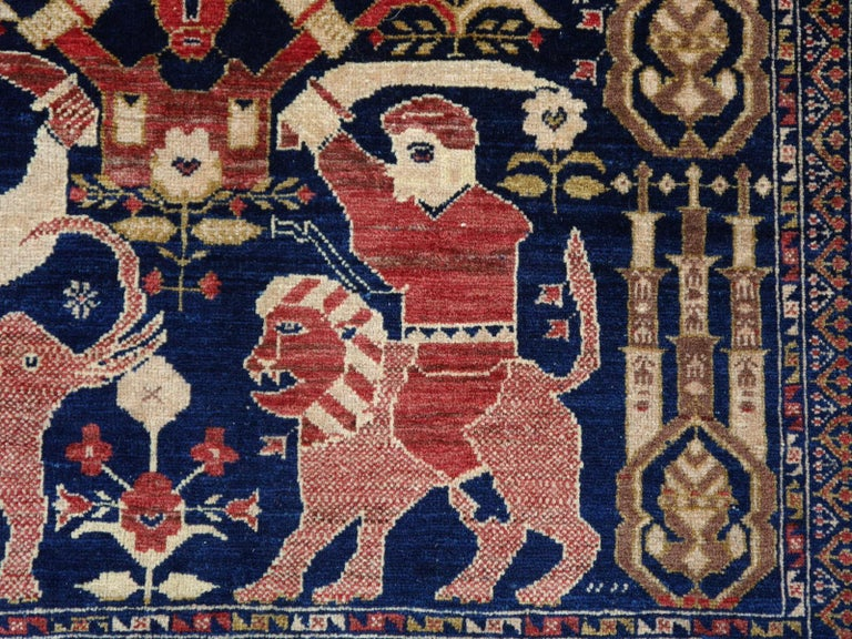 Vintage Afghan War Rug with Lions Elephants and Warriors 6 x 4 ft For Sale 3