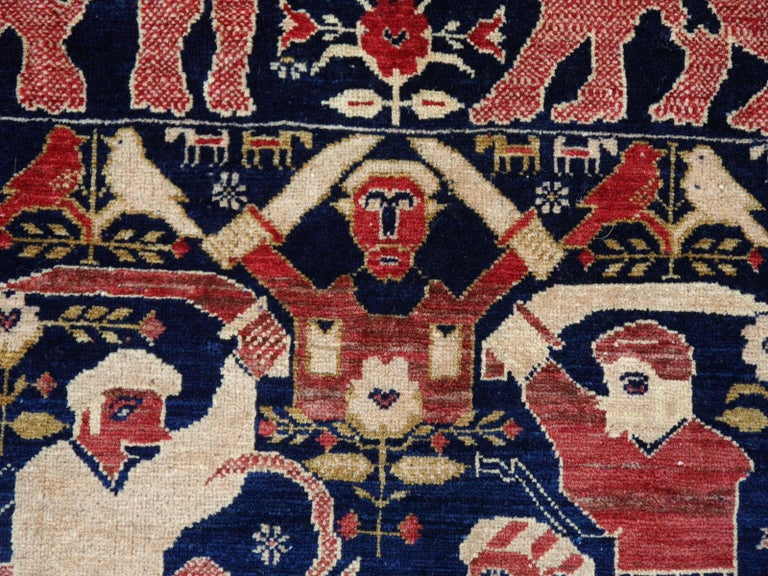Vintage Afghan War Rug with Lions Elephants and Warriors 6 x 4 ft For Sale 4
