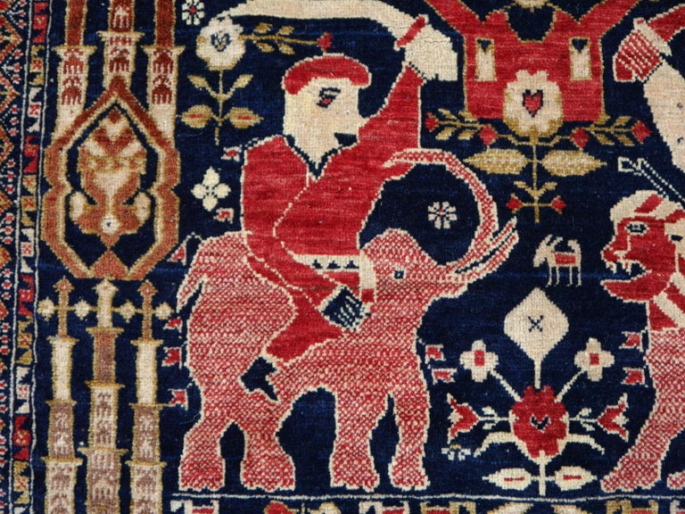 Vintage Afghan War Rug with Lions Elephants and Warriors 6 x 4 ft For Sale 5
