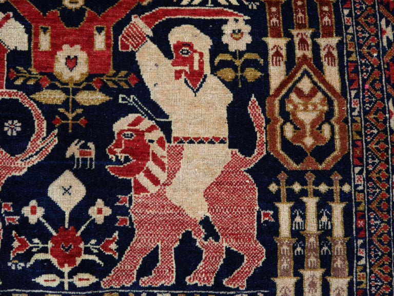 Vintage Afghan War Rug with Lions Elephants and Warriors 6 x 4 ft For Sale 6